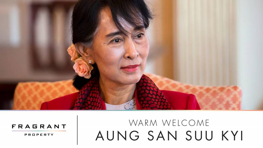 Aung San Suu Kyi, along with Myanmar's Top Leaders Visited Fragrant Property PCL's Progress on Construction of the New Myanmar Embassy in Bangkok